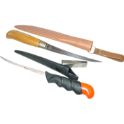 Bud Adams & Sharper's Centurion Filet Knives Fishing Stainless Fish Fillet Plastic Sheaths