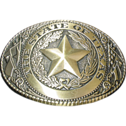 The State of Texas Seal Belt Buckle Brass Lone Star Made in USA