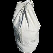 Military WWII Navy Sailor Duffel Bag White Canvas Denti R.L. or Nye Sea Ship Duffle