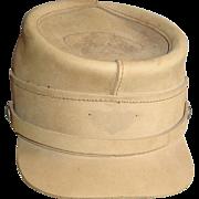 REDUCED Henschel Civil War Style Hat Size Large Tan Leather Cap Military Reenactment Souvenir