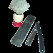 "Lanseatra Straight Razor Soap Brush Barber Shaving 5/8"" Wide Blade"