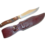Arrowhead EHP Hunting Bowie Knife in Leather Sheath EKCO Cutlery USA
