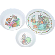 SOLD Oneida Deluxe Peter Rabbit Plate Bowl Children Dish Child Set Melmac Melamine Plastic