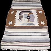 """Aztec Mayan Woven Blanket Maya Inca Indian Fringe Rug 50X80"""" Mexican Wall Art"""