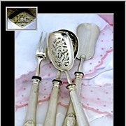 Antique French Guilloche Sterling Hors d'Oeuvre Set