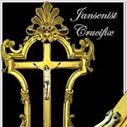 SALE Antique Jansenist Crucifix w/ Elaborate Gesso Frame
