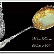 Victor Boivin: Antique French Sterling Silver Vermeil Serving Spoon