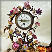 SOLD Antique Ormolu & Porcelain Clock Decorated w Amazing Flowers Bird
