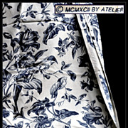 SOLD Vintage Floral Foliate Toile by Atelier Originals: Lilies & Morning Glory in Blue & White
