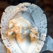 SOLD Antique Hand Carved Alabaster Bust Woman Elizabethan Collar