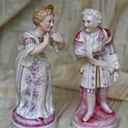 SALE Antique German Porcelain Pair Courting Figures