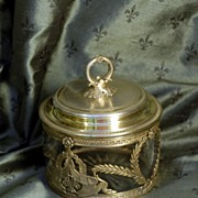 Antique French Empire Vermeil & Crystal Casket, Sugar Caddy