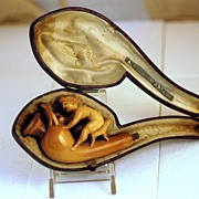 Fine Carved Antique Meerschaum Pipe Figural wit Case