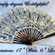 SOLD Antique French Folding Fan Hand Made Lace, Tortoiseshell, Silver