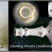 Fine Vintage Dresden candlestick Hand Painted Gilt Foliate