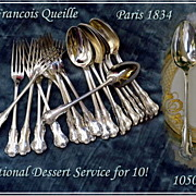 Pierre Queille! Antique French Sterling Dessert Flatware Set for 10