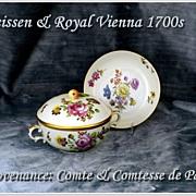 Rare! Antique Meissen Royal Vienna Covered Soup & Saucer 1700's Provenance