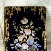 SOLD Victorian Papier Mache Blotter Mother of Pearl Inlay & Gilt Painting