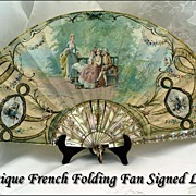 SOLD Antique French Folding Fan HP Mother of Pearl Sticks Signed Leger