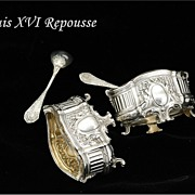Louis XVI Style Antique French Sterling Vermeil Open Salt Liner & Spoon Set