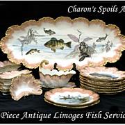 Antique Limoges Fish Service: 23 Pieces! A. Lanternier