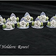 Nice Set 11 Vintage German Porcelain Place Card Holders: Roses!