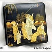 Antique Victorian Papier Mache Box w HP Chinoiserie Decoration