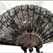 SOLD Vintage French fan:Black Lace, Hand painted Birds, Hand Carved Sticks: HUGE!
