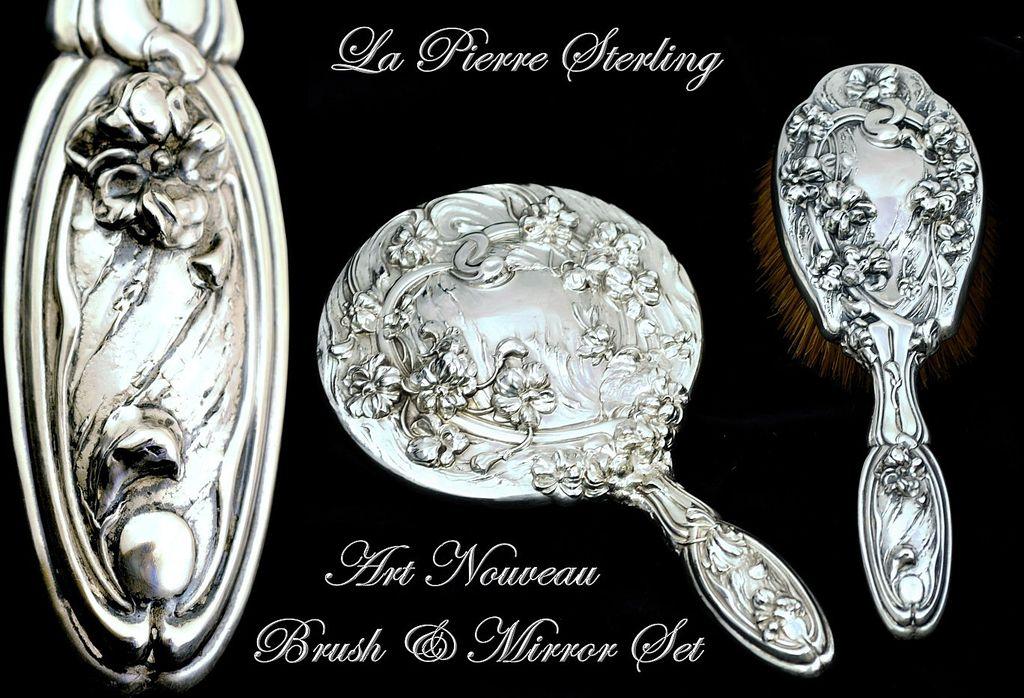 Antique Sterling Silver 2 Pc Vanity Dresser Set La Pierre