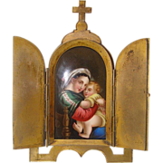Antique traveling Tryptich depicting the Madonna with the Christ Child