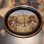 SOLD Roman Micro Mosaic brooch of finest quality set in 14k yellow gold