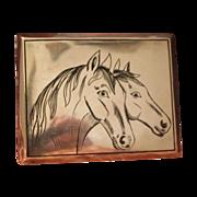 Antique silver cigarette case with black enamel adornment,19th century