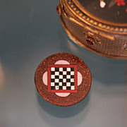Antique Pietra Dura button depicting a chess board, 19th century