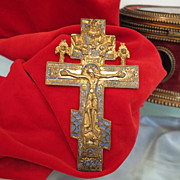 SOLD Russian Icon crucifix adorned with blue enamel,partly gilded, 19th century - Red Tag Sale