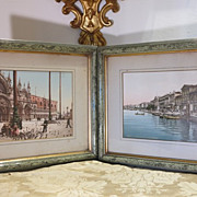 A pair of antique framed hand colored photos,end of 19th century