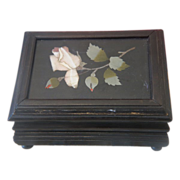 Antique Florentine Pietra Dura box depicting pink roses, 19th century