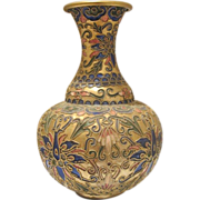 Cloisonne´ enameled fine  vase with colourful ornaments, early 20th century