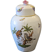 Rothschild Herend vase with pink rose finial cover, ca.1980