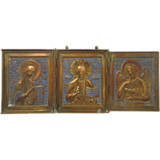 Antique Russian Tryptich with blue enamel, 19th century
