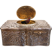 Silver Singing Bird Box by Karl Griesbaum ,Hallmarked and signed, ca.1920