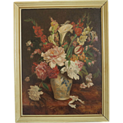 English still life of flowers in a vase,oil on canvas, ca. 1920