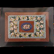 Grand Tour Era Micro Mosaic depicting colorful flowers,19th century