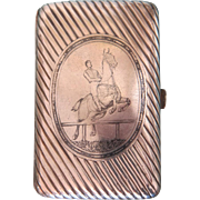 Antique silver cigarette case with Niello painting, ca. 1867