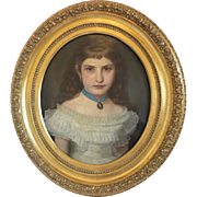 Antique painting of a young girl in a white dress, oil on canvas, late 19th ...