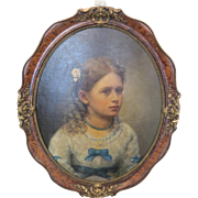 Antique painting depicting a young girl, oil on canvas, 19th century