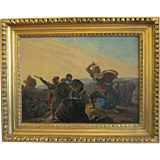 Antique painting depicting an oriental scene, oil wood, 19th century