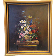 SOLD Antique flower painting crafted oil on board, 19th century - Red Tag Sale Item