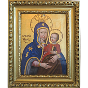 Antique painting of the Madonna with the little Jesus , 19th century