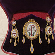 SOLD A magnificent Roman Micro Mosaic demi parure depicting the monogram of Christ, Italy 19th
