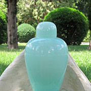 Signed Venini vase and cover in opaque turquoise glass, dated at about 1980